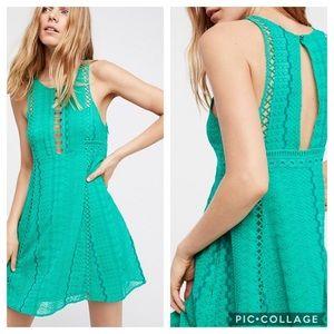 Free People Wherever You Go Green Mini Dress NWT
